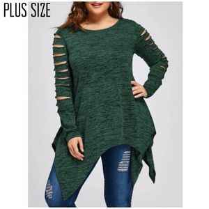 Tops - Plus Size Deep Green Ladder Sleeve Top